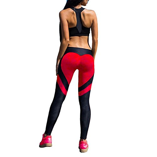 Fittoo Women's Heart Shape Yoga Pants Sport Pants Workout Leggings Sexy High Waist Trousers - Red (S)