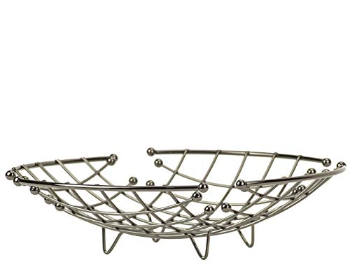 DecorRack Metal Fruit Bowl, Large Round Wire Storage Basket Stand, Perfect Produce Vegetable Fruit Basket for Kitchen Countertop and Table, Fruit Holder in Stainless Black Nickel Finish (1 Pack) - Bowl Fruit Round Vegetable