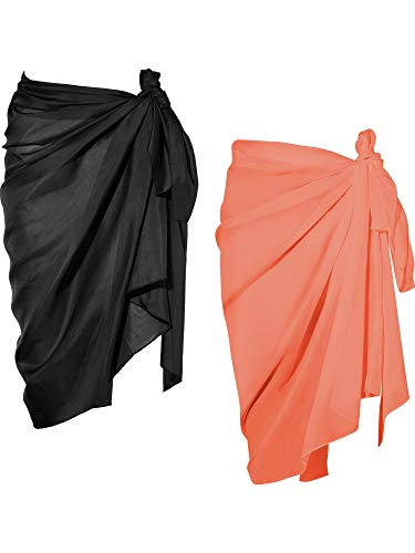 Chuangdi 2 Pieces Women Beach Wrap Sarong Cover Up Chiffon Swimsuit Wrap Skirts (Black and Orange, Long A) -