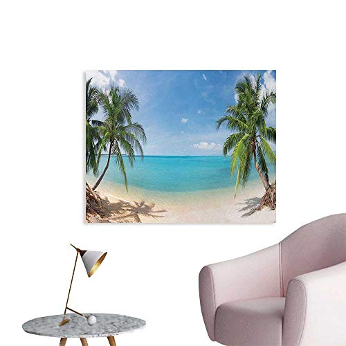 Ocean Custom Poster Panoramic View of Tropical Sandy Beach Exotic Vacation Theme Print Wallpaper Turquoise Green Light Brown W36 xL24 ()