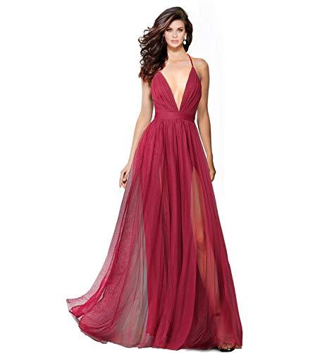 (Alluring deep v-Neckline Spaghetti Straps Criss-Cross Open Back Tulle Dual Front Slits Evening Prom Formal Dress Wine)