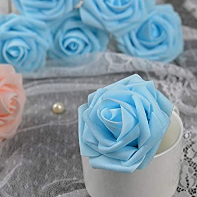 Breeze Talk Artificial Flowers Blush Roses 25pcs Realistic Fake Roses w/Stem for DIY Wedding Bouquets Centerpieces Arrangements Party Baby Shower Home Decorations