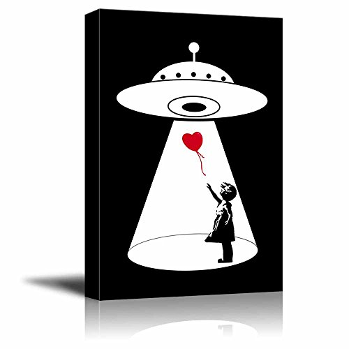 UFO Abduction of the Heart Shaped Balloon from the Banksy Girl Gallery Black and White Children