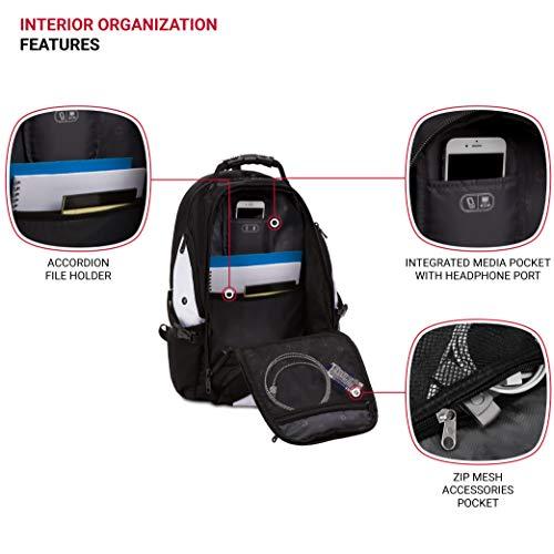 SWISSGEAR Large ScanSmart Laptop Backpack | TSA-Friendly Carry-on | Travel, Work, School | Men's and Women's - Black/White