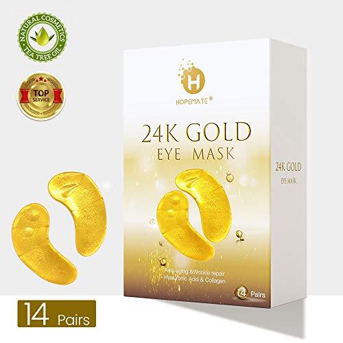 Eye Patches, HOPEMATE Under Eye Mask, 24K Gold Eye Treatment Mask, Dark Circles Gel Pads, Under Eye Bags Treatment, Eye Mask for Puffy Eyes, Anti-Wrinkle Undereye Dark Circles, 14 Pairs