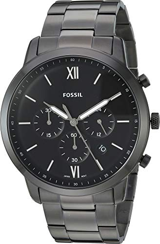 Fossil Men's 'Neutra Chrono' Quartz and Stainless-Steel-Plated Casual Watch, Color:Black (Model: (Fossil Mens Black Dial Watch)