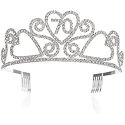SWEETV Rhinestone Tiara Birthday Crown Princess Party Hat Hair Accessories 15/16/18/21/30/40/50/60/70th Birthday Gift,70th