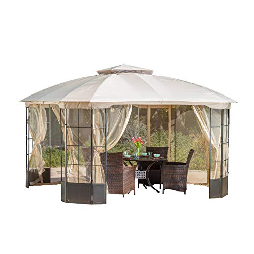 (Great Deal Furniture 294927 Somerset Outdoor Steel Gazebo Canopy w/Tan Cover, Multicolor)