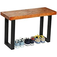 Rustic Style Wood and Industrial Black Metal Shoe Bench / Heavy Duty Entryway Seat - MyGift