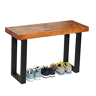 MyGift Rustic Style Wood and Industrial Black Metal Shoe Bench/Heavy Duty Entryway Seat - A freestanding bench with a rustic-style wood seat and sturdy black metal legs. Perfect for use in your entryway or by your vanity table or for additional seating in your living room. Assembly required. - entryway-furniture-decor, entryway-laundry-room, benches - 41k IOtI iL. SS400  -