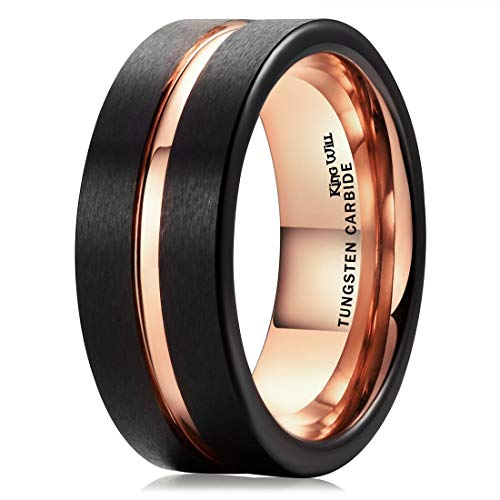 King Will Duo 8mm Black Matte Finish Tungsten Carbide Ring Rose Gold Plated Wedding Band (10)