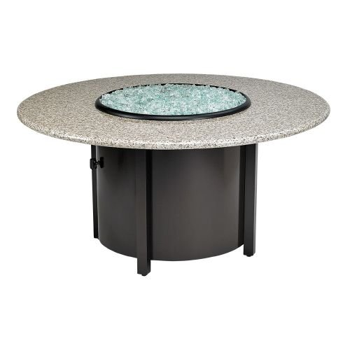Carmel Series Outdoor Gas Fire Pit Table by American Fire Products, Round, 48-Inch, Sunset Gold Granite Top (Sunset Gold Top Granite)