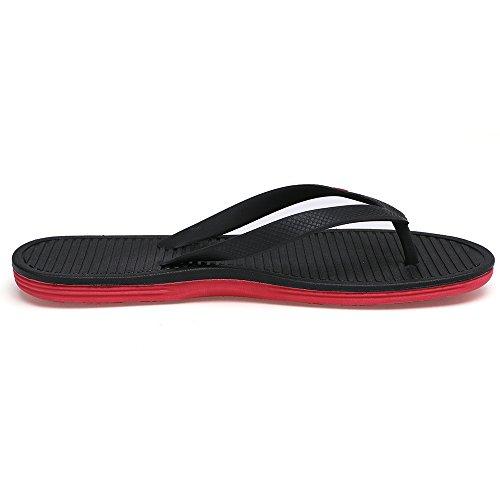 Feetmat Mens Tofflor Sommar Platta Sandaler Flip Flops Svart / Röd