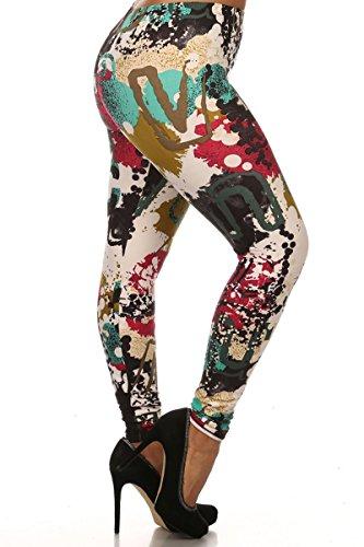 Leggings Depot Women's Popular BEST Printed Plus Size Fashion Leggings Batch4 (N321-PLUS)