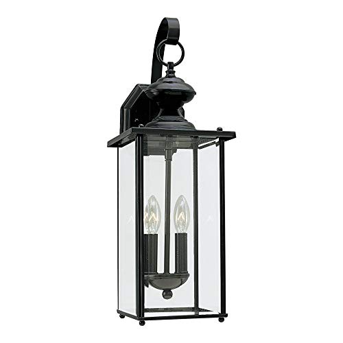 Sea Gull Lighting 8468-12 Jamestowne Two-Light Outdoor Wall Lantern with Clear Beveled Glass Panels, Black Finish -