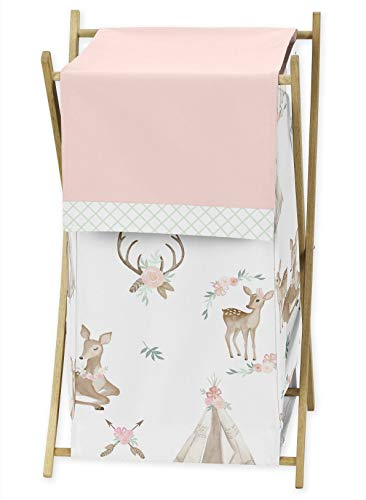 Sweet Jojo Designs Blush Pink, Mint Green and White Boho Baby Kid Clothes Laundry Hamper for Woodland Deer Floral Collection ()