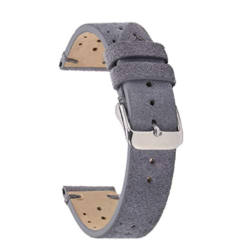 Leather Racing Band,EACHE Perforated Suede Handmade Watch Replacement,Rally Watch Strap for Men Women,Gray-20mm