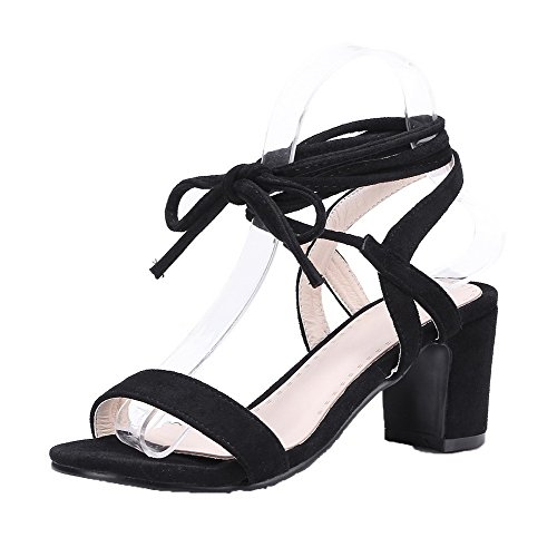 VogueZone009 Women Imitated Suede Lace-Up Open-Toe Kitten-Heels Solid Sandals, CCALP014814 Black