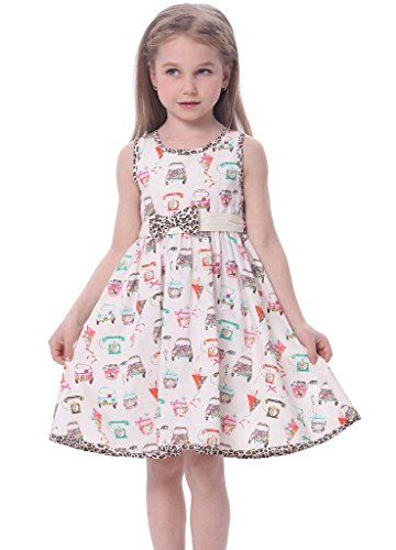 Price comparison product image Bonny Billy Girls Sleeveless Cotton Print Casual Children Dress with Sash 4-5Y Car Print