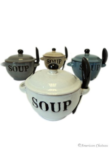 Set 4 Stoneware 12oz Soup Bowls with Lids and Spoons That Fit Into Handles American Chateau