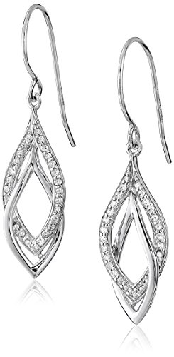 Leaf Diamond Cut Earrings - Sterling Silver Diamond (1/4 cttw) Leaf-Shape Dangle Earrings