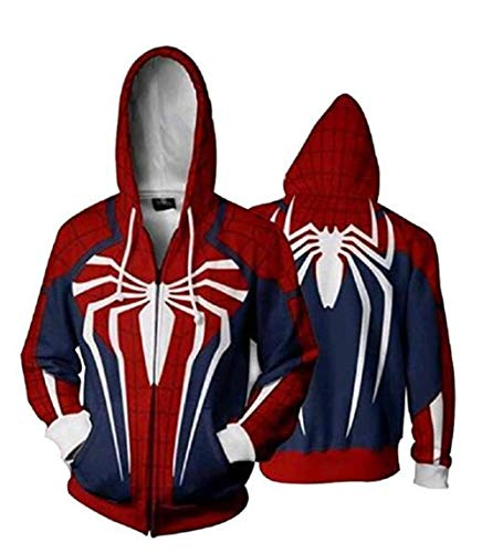 Unisex Superhero Cosplay Costume Cotton Fleece Hoodie Jacket with Zipper (Male-X-Small, White)