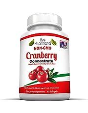Sans OGM Gélules de Complément Concentré de Canneberge (Cranberry) Pour les Infections Urinaires. Equivalent à 12600 mg de Canneberge Frais ! Renforcez la Santé de vos Reins ou Système Urinaire