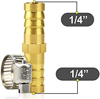 Water Gasher 10 Pieces Brass Hose Barb Reducer 1//4 Inch to 1//4 Inch Barb Hose ID with 10 Hose Clam Gas WOG AIR Oil Brass Barb Reducer SPLICER Fitting Fuel