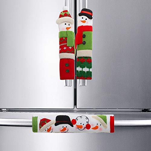 SAKOLLA Christmas Refrigerator Handle Covers, 3 Pack Cute Snowman Kitchen Appliance Handle Covers Protector, Perfect for…
