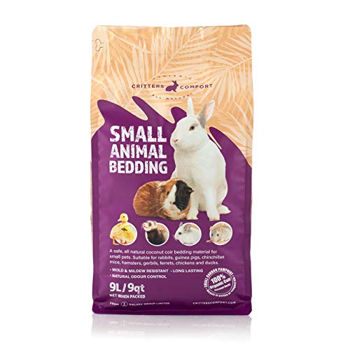 Bunny Bedding Odor Control for Small Pets - Organic Coconut Husk Fiber Substrate Animal Bedding for Guinea Pig, Ferret, Hamster Cages and Habitats - Pet Accessories - 9 Liters Critter Litter