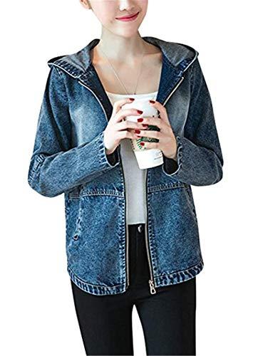 Jacket Outwearr Blue WLITTLE Longues Trous Femmes Dchir Manches Casual Veste Automne Blouson en Jeans Coat OrBwvOq6