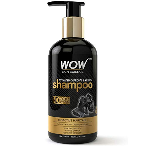 WOW Skin Science Charcoal & Keratin Shampoo - No Sulphates, Parabens, Silicones, Salt & Color - 300 mL (Best Shampoo For Damaged Hair And Split Ends In India)
