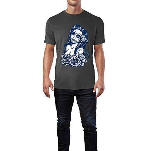 SINUS ART® Schwarz Weiß Tattoo Art mit Frau und Rosen Herren T-Shirts in Smoke Fun Shirt mit tollen Aufdruck