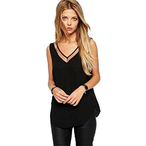 LISINGTOOL Blouse, Women's Summer Loose Chiffon V-Neck Vest Sleeveless T-Shirt Tank Tops (X-Large, Black)