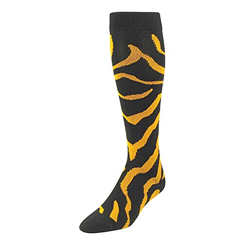 Fashion Zebra Stripe - TCK Sports Krazisox Zebra Stripe Socks (Black/Gold, Large)