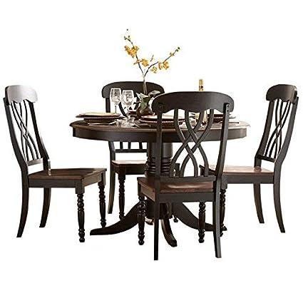 Amazon Com Homelegance Ohana 48 Round Dining Table Black Kitchen