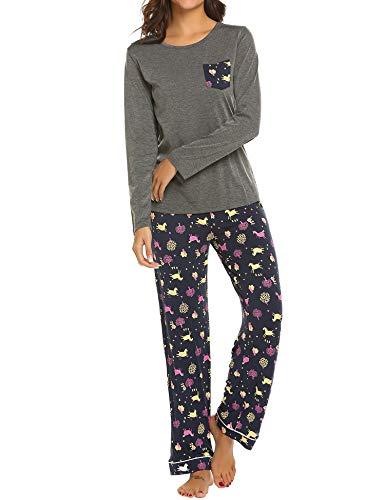 6d7633e2a Galleon - Ekouaer Women s Comfort Sleepwear Long Sleeve Loungewear 2 Piece Pajama  Set Nightwear (Dark Grey