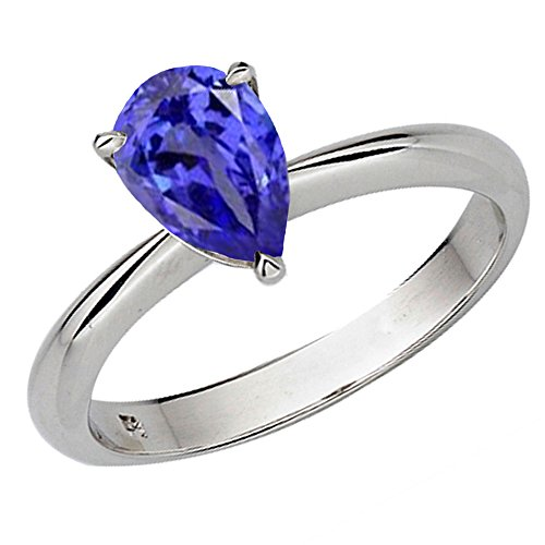 Dazzlingrock Collection 10K 9X7mm Pear Cut Tanzanite Solitaire Bridal Teardrop Engagement Ring, White Gold, Size 8.5