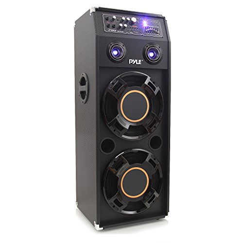 12' 2 Way Loudspeaker System - Portable DJ Dance Speaker System - Two-Way PA Stereo 1400 Watts w/Dual 12'' Subwoofer Built-in LED Flashing Lights RCA Stereo Output Crossover Network & MP3/USB/Micro SD/FM Radio - Pyle PSUFM1245A