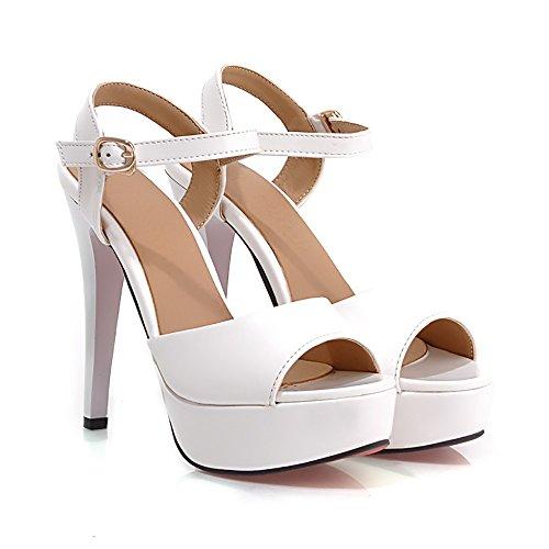 TAOFFEN Peep Sexy Stiletto Donna Bianco Toe Sandali con rBW7Un1r