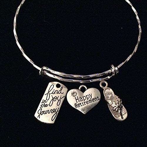 Happy Retirement Find Joy in The Journey Flip Flop Charm Silver Adjustable Expandable Bracelet Twisted Wire Bangle One Size Fits All Gift Personalization and Custom Options Available ()
