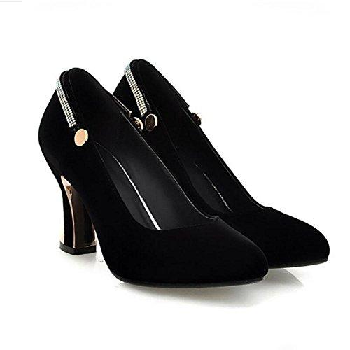 Printemps Automne en cuir pour femmes Wristband Chunky chaussures à talons hauts Prong Chaussures simples chaussures de mariage , black , 36