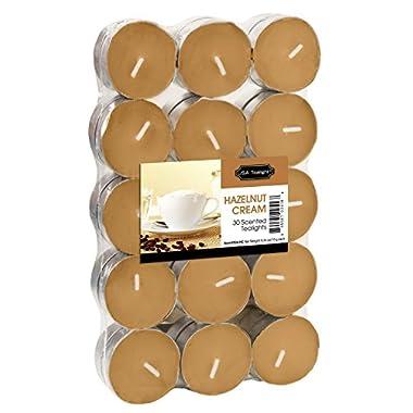 USA Tealight Hazelnut Cream Tealights, 30-Pack