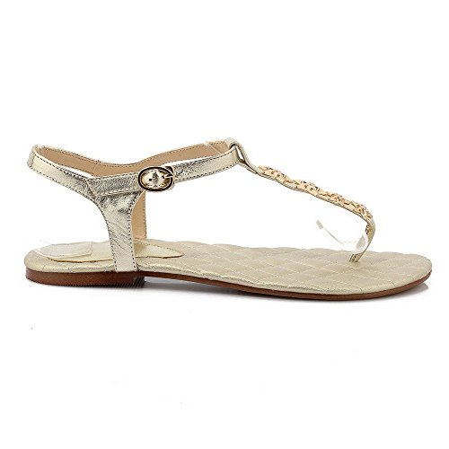 921917cb AllhqFashion Mujeres Mini tacón Puntera Dividida Material Suave Sólido  Hebilla Sandalia Gold Visitar Ebay