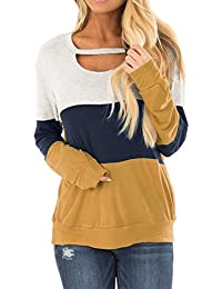 Women's Fall Color Block Chest Cutout Tunics Long Sleeve Shirts Scoop Neck Blouse Casual Loose Fit Tops