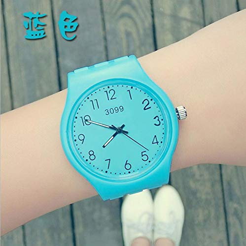 Girl Students Watch Fashion Unique Gift for Men Women Waterproof Sports Candy-Colored Jelly Couple Lover Watch (Sky Blue (not Table Box)