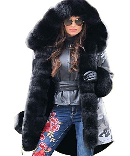 Roiii Women Thicken Warm Winter Coat Hood Parka Overcoat Long Jacket Outwear ()
