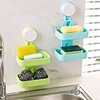 EAYIRA Plastic Double Layer Sucker Wall Mounted Soap Box with Flipped Idea Suction Cup Holder for Bathroom and Wash Basin, Soap Box with Suction Cup Holder Rack for Bathroom