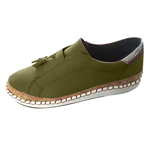 TnaIolral Ladies Summer Shoes Fashion Flats Tassel Round Toe Casual Non-Slip Breathable Sneakers (US:9, Green) ()