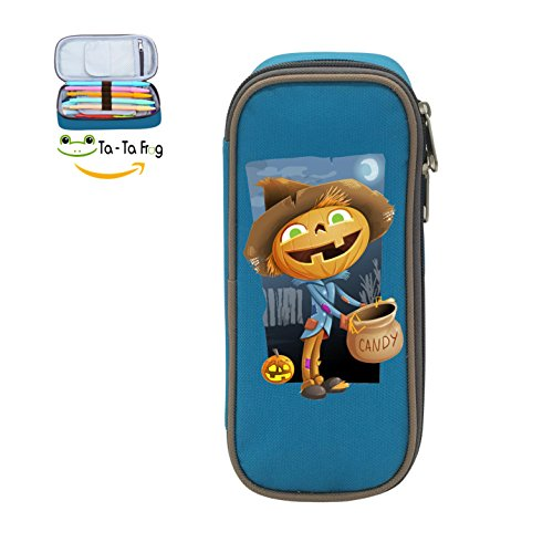Cute Large Capacity Cool Canvas Pencil Case Pen Bag Cartoon Pumpkin Man Reap Candy Student blue -